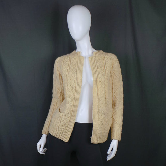 1970s Warm Cream Hand Knitted Open Front Aran Cardigan, 44in Bust