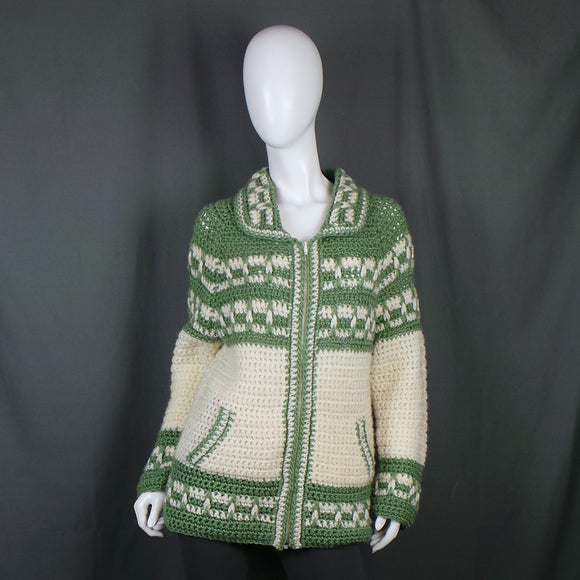 1970s Sage Green and Cream Chunky Oversized Zipped Knit, 44in Bust