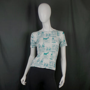 1970s White and Teal Victorian Advertising Novelty Print T-Shirt, 34in Bust