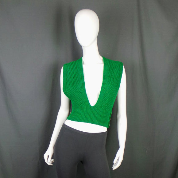 1940s Bright Grass Green Pinafore Style Knitted Tank, 31in Waist