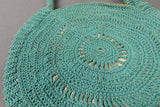 1930s Sea Foam Blue Round Crochet Small Bag