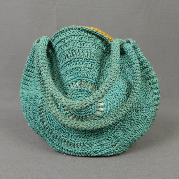 1930s Sea Foam Round Crochet Small Bag