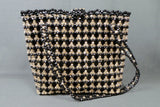 1960s Black and Clear Faceted Bead Tote Bag