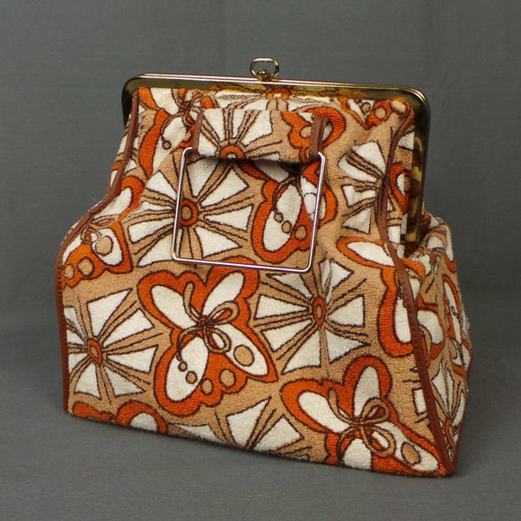 1960s Orange and Tan  Butterfly Print Toweling Frame Bag