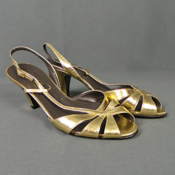 1980s Antique Gold Leather Peep Toe Slingback Sandals, by Bally, UK 4