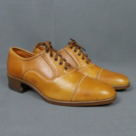 1970s Warm Tan Lace Up Brogues with Small Heel, by James Clark, UK 7/8