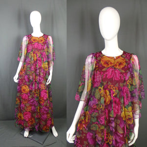 1970s Magenta and Gold Large Bloom Angel Sleeve Chiffon Maxi, by Sylvan, 42in Bust