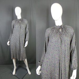 1980s Slate Grey Neon Planet Graphic Print Smocked Dress, 56in Bust