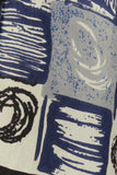 1960s Blue and Cream Circle Print Long Scarf