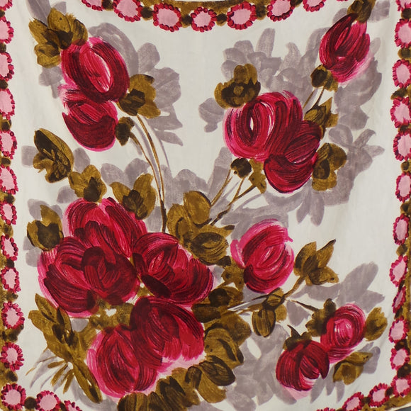 1950s Pink and Green Painterly Floral Silk Scarf