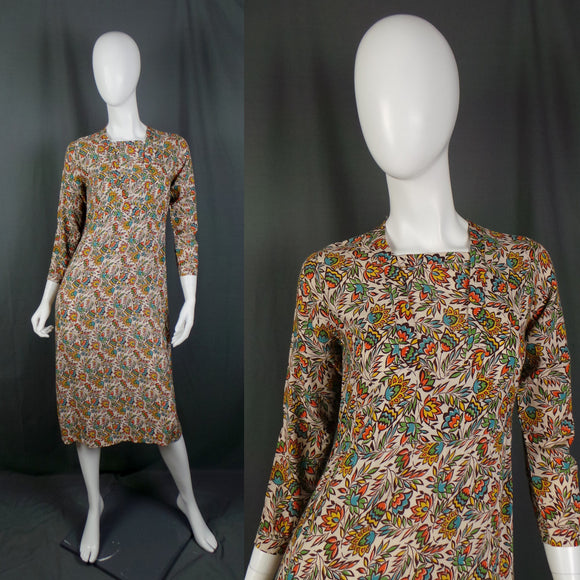 1930s Orange and Tan Art Deco Print Dress, by Conquestor, 35in Bust