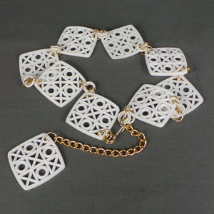 1960s White and Gold Noughts Crosses Square Chain Belt