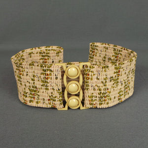 1970s Tan Floral Stretchy Waist Belt with Circular Clasp