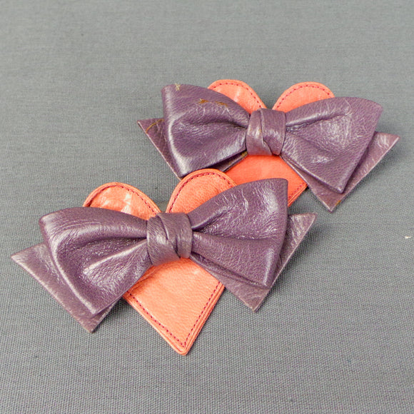 1980s Pink Heart and Bow Shoe Clips