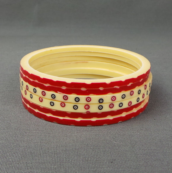 1940s Cream and Red Stack of Six Carved Bangles