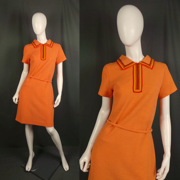1960s Orange Retro Stripe Collar Mod Dress, 36in Bust