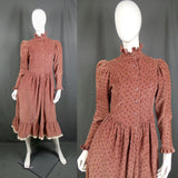 1980s Dusky Pink Needlecord Prairie Dress, 36in Bust