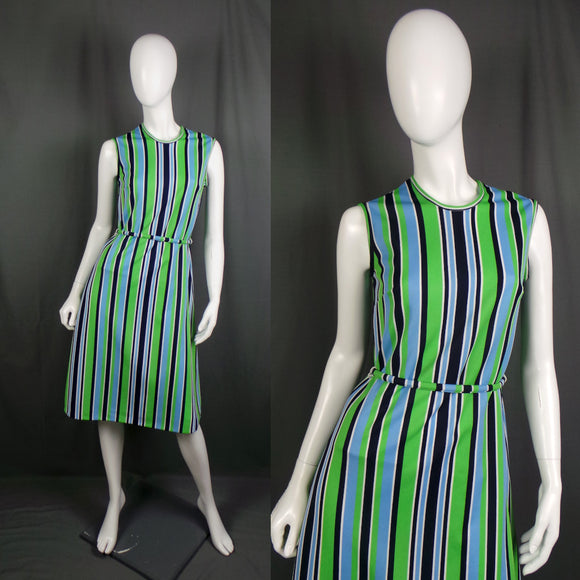 1960s Blue and Green Striped Sleeveless Dress, 37in Bust