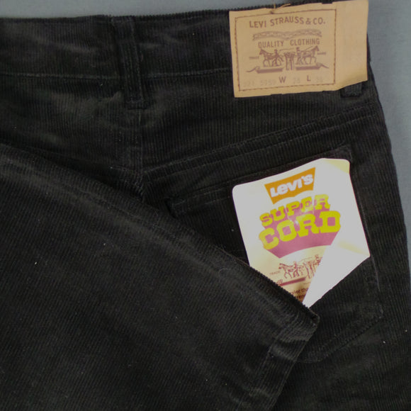 1960s Jet Black Levis Super Cord Deadstock Flares, 28in Waist