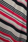 1980s Pink, Navy and White Striped Large Silk Scarf
