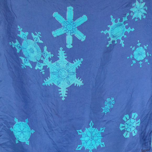1960s Blue Snowflake Print Silk Scarf Pocket Square, by Jacqmar