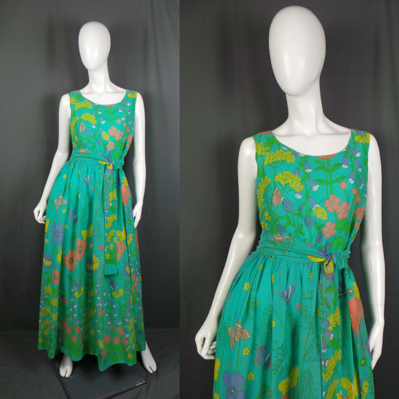 1970s Green Summer Meadow Sleeveless Maxi Dress, by Dandi for Berkertex, 40in Bust