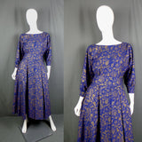 1980s Midnight Blue and Gold Button Back Dress, by Laura Ashley, 40in Bust