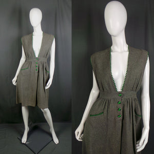 1940s Slate Grey Woollen Pinafore Dress with Forest Green Trim, by Edith Linn, 28in Waist