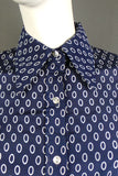 1970s Navy and White Oval Print Dagger Collar Shirt, by Pierre Balmain, 39in Bust
