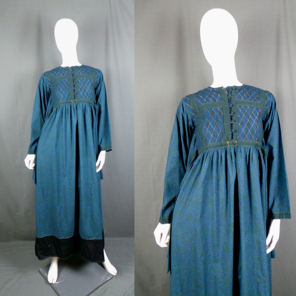 1960s Denim Blue Indian Cotton Statement Sleeve Maxi Dress, 36in Bust