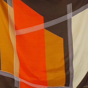 1970s Orange, Yellow and Brown Geometric Scarf, by Valentini