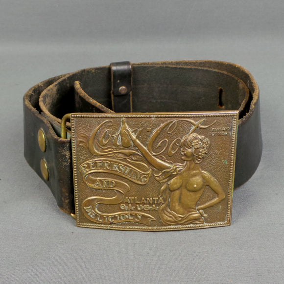 1960s Coca-Cola Brass Buckle Fake Tiffany Art Nouveau Leather Belt