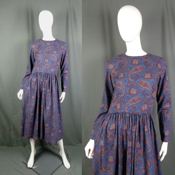 1980s Mid Blue and Red Paisley Gathered Waist Dress, 40in Bust