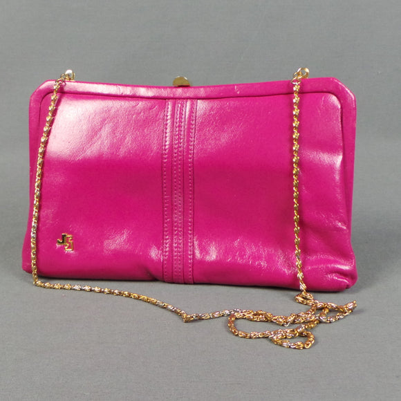 1980s Bubblegum Pink Clutch Bag with Chain, by Japelle