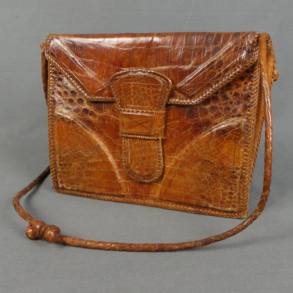1950s Croc Skin Leather Bag with Adjustable Strap