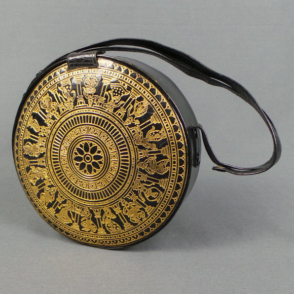 1960s Gold and Black Indian Embossed Adjustable Circle Bag