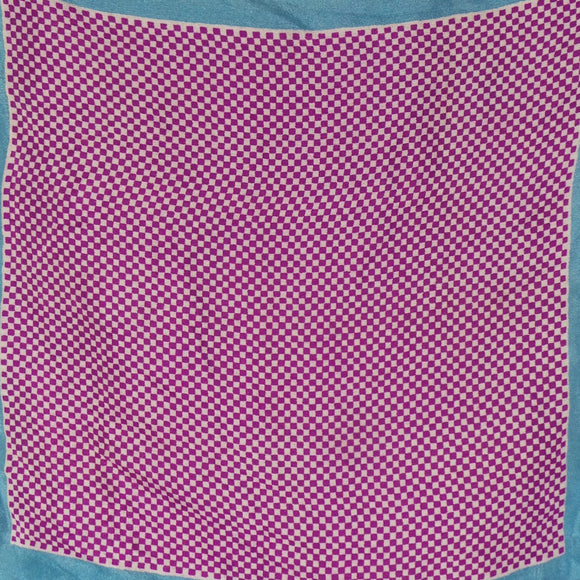 1950s Purple and Blue Checker Board Hankie Pocket Square