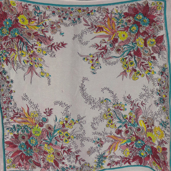 1940s Maroon and Yellow Floral Hankie Pocket Square