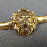 1980s Gold Roaring Lion Stretchy Waist Belt, by Accessocraft, 27in Waist