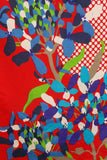 1980s Red and Blue Bold Floral Silk Scarf, by Pierre Cartier