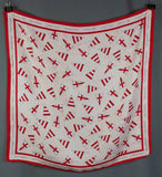 1980s Red and White Flag Silk Scarf