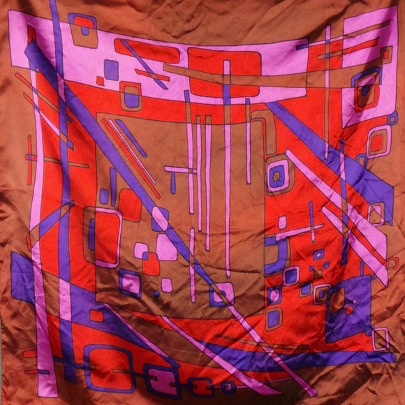1960s Purple, Pink and Brown Geo Print Scarf, by Cirro