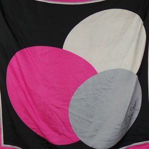 1980s Pink, Grey and Black Circle Print Silk Scarf, by Cornelia James