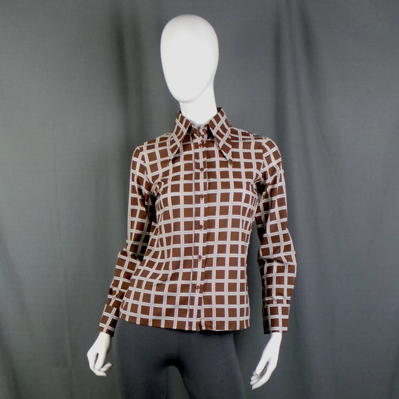 1970s Cocoa Brown and White Checked Double Cuff Dagger Collar Shirt, By Lisa-Jane, 38in Bust