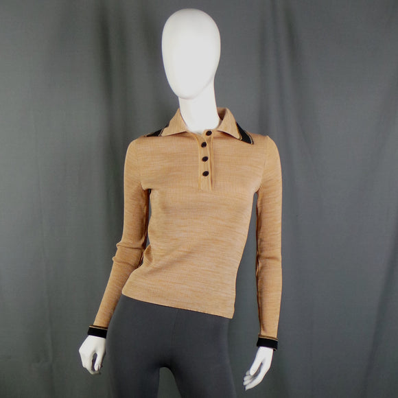 1970s Tan Ribbed Top with Collar and Button Front, 31in to 40in Bust