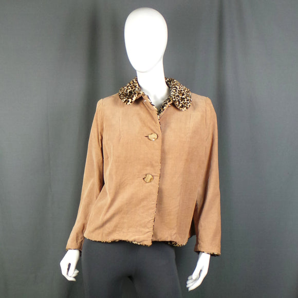 1960s Camel Cord Short Jacket with Leopard Fleece Lining, 47in Bust