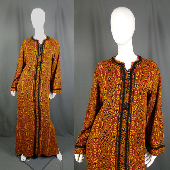 1960s Rich Golden Geo Print Winter Weight Kaftan, 41in Bust