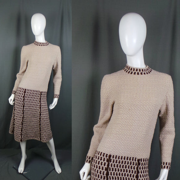 1960s Camel and Brown Knitted Drop Waist Jumper Dress, Bust 36in to 42in