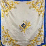 1980s Blue and Yellow Wimbledon Tennis Souvenir Silk Scarf