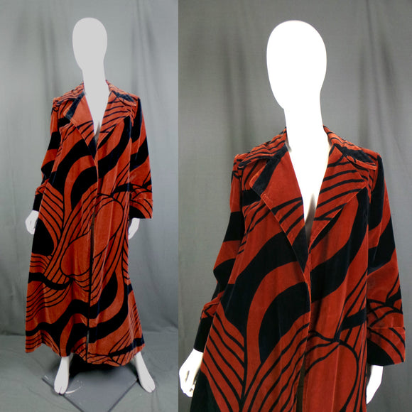 1970s Chestnut Brown and Black Swirl Velvet Long Coat, 40in Bust